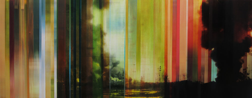 """Pistes et Points 4, oil paint and mixed media on board, 24"""" x 60"""", 2015"""