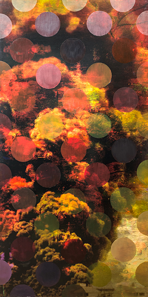 """Clouds & Oil Patch, archival ink and oil paint on board, 42"""" x 72"""", 2015"""