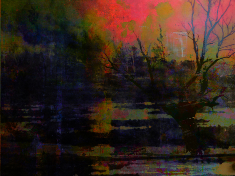 """Broken Landscapes: Mirror #2, oil paint and archival ink on board, 36"""" x 48"""", 2012"""