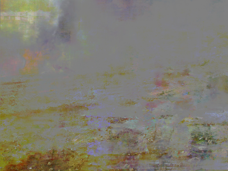 """Broken Landscapes: Mirror #3, oil paint and archival ink on board, 36"""" x 48"""", 2012"""