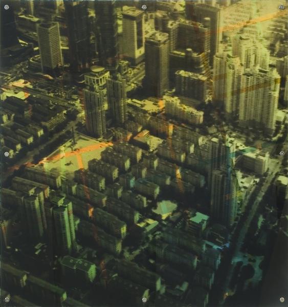 """Lost Dimension 11,  oil paint on board and digital print on plexiglas, 42"""" x 42"""", 2009"""