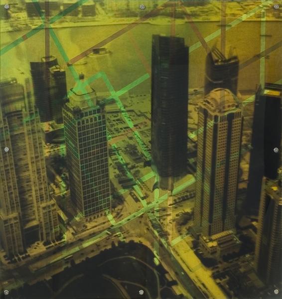 """Lost Dimension 12,  oil paint on board and digital print on plexiglas, 42"""" x 42"""", 2009"""