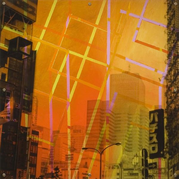 "Mnemonic Structure 8 , oil paint on board and digital print on plexiglas, 42"" x 42"", 2008"
