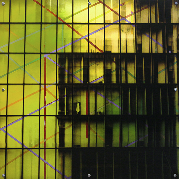 "Mnemonic Structure 16 , oil paint on board and digital print on plexiglas, 42"" x 42"", 2008"
