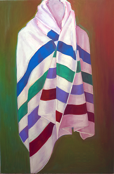 """Ghost from the Past in a Coat of Many Colours, oil on board, 60"""" x 40"""", 2018"""