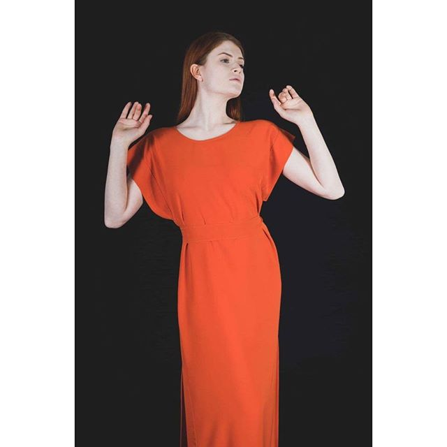 Orange split dress as part of the @idreamofshapes collection 'stay'. photographed by @s183_markhunt model @aja.jane. you can check out the full collection at idreamofshapes.com and available @farrahfloydbrussels @studio183 @bikiniberlin  #kimono #orange #independentdesigner #conceptstore #berlindesigner #brusselsfashion #berlinfashion #fashion #designer #style #handcrafted #shop #shooting #model #elegant #fashionshooting #shape #nowastedesign #sustainablefashion #instagood #instadaily