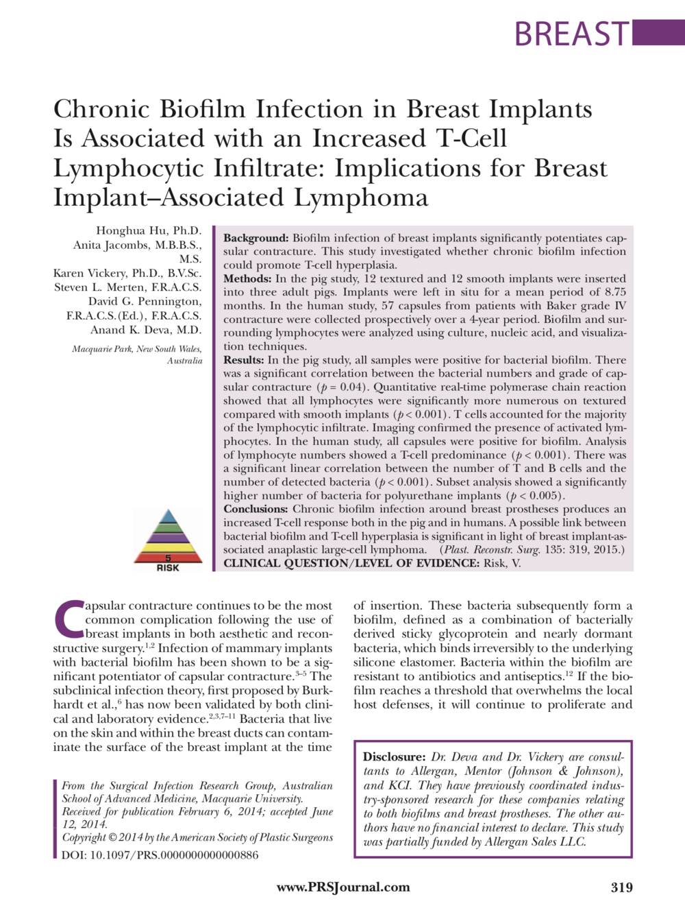 Chronic Biofilm Infection in Breast Implants - is associated with increased T-Cell lymphocytic infiltrate: implications for breast implant-associated lymphoma