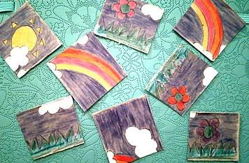 - After drawing and colouring the scenes, I cut the cardboard into 8 pieces. Simple and easy.