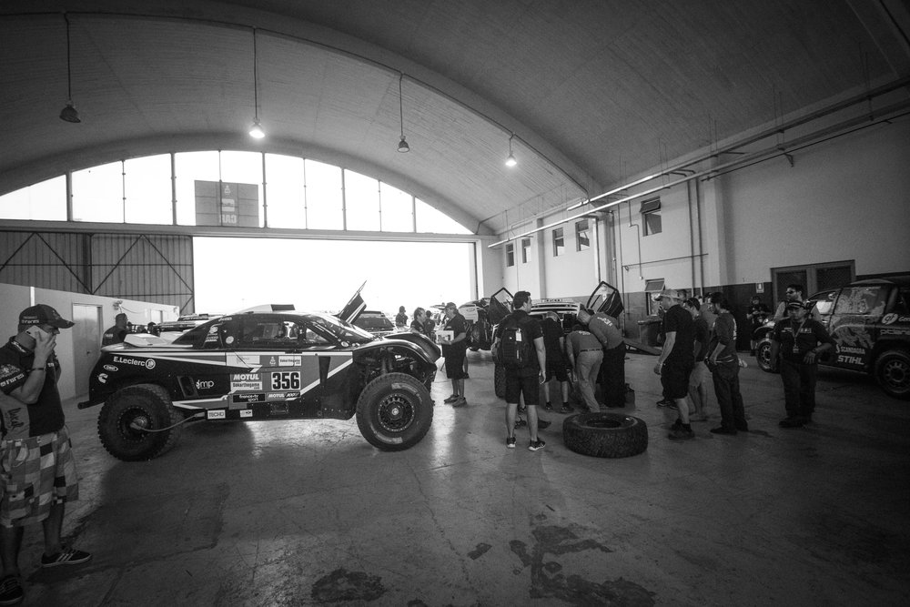 A giant plane hanger was the location for scrutineering.