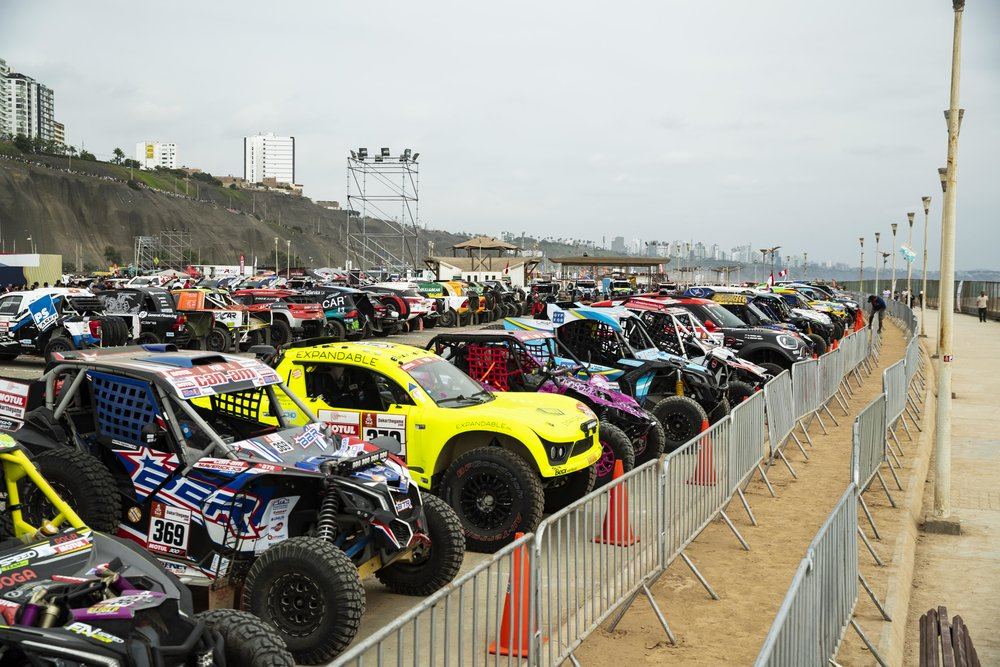 All of the race vehicles in Parc-Fermes before day 1 of the Dakar Rally.