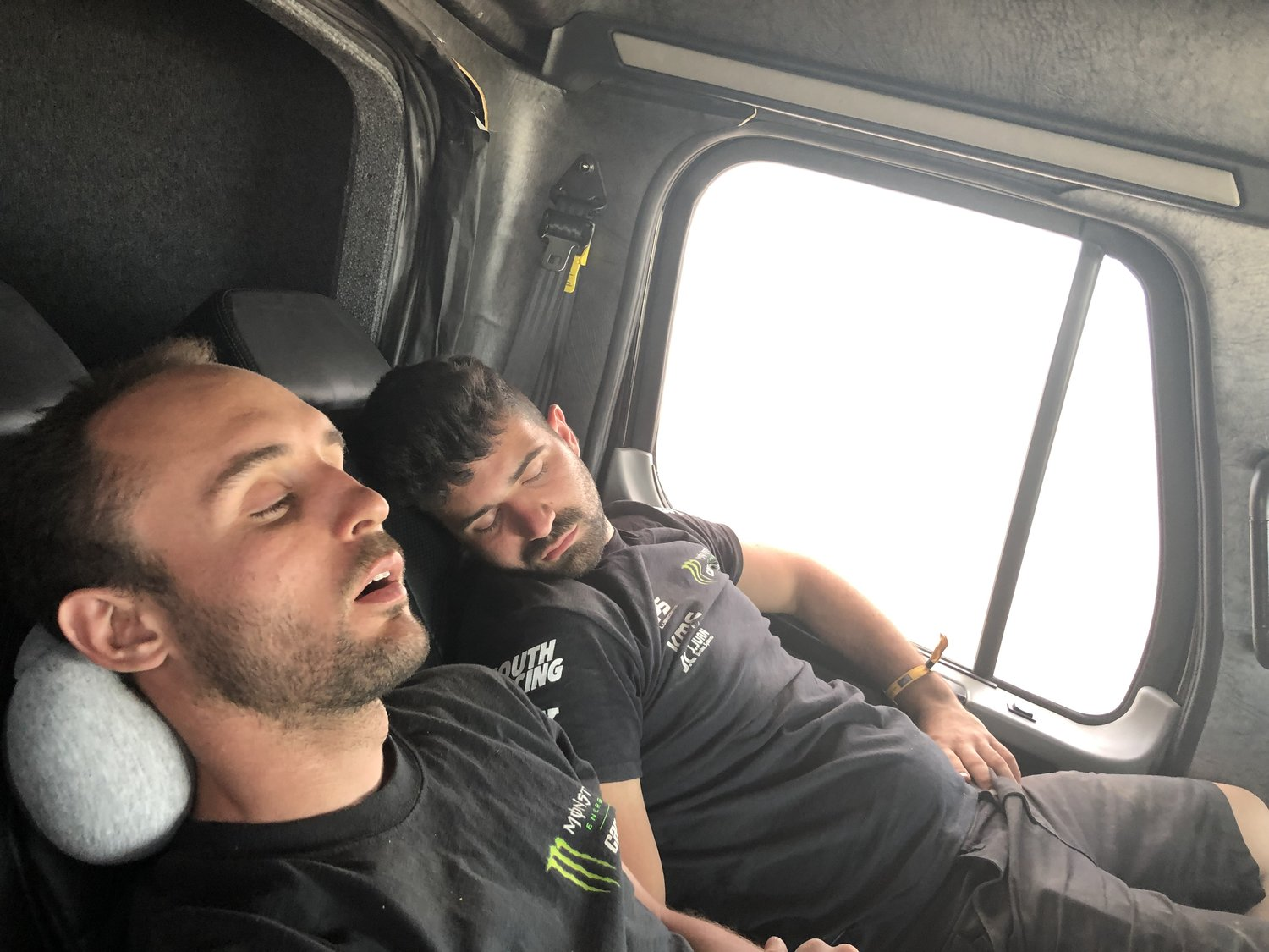 On the liaison, the mechanics all slept as they'd have a long night ahead preparing the vehicles for the marathon stage.