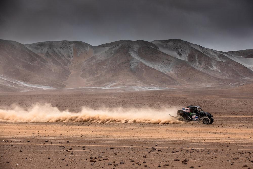 Casey rips across the Peruvian desert.