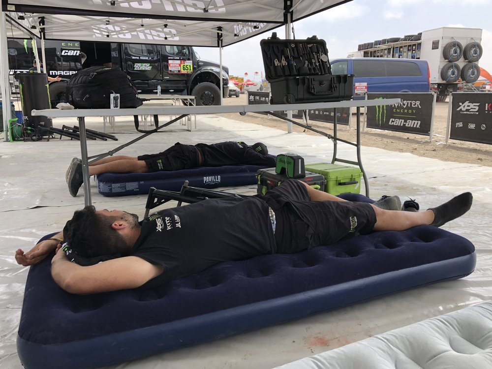 During the marathon stage, mechanics get a much needed break filled with rest.