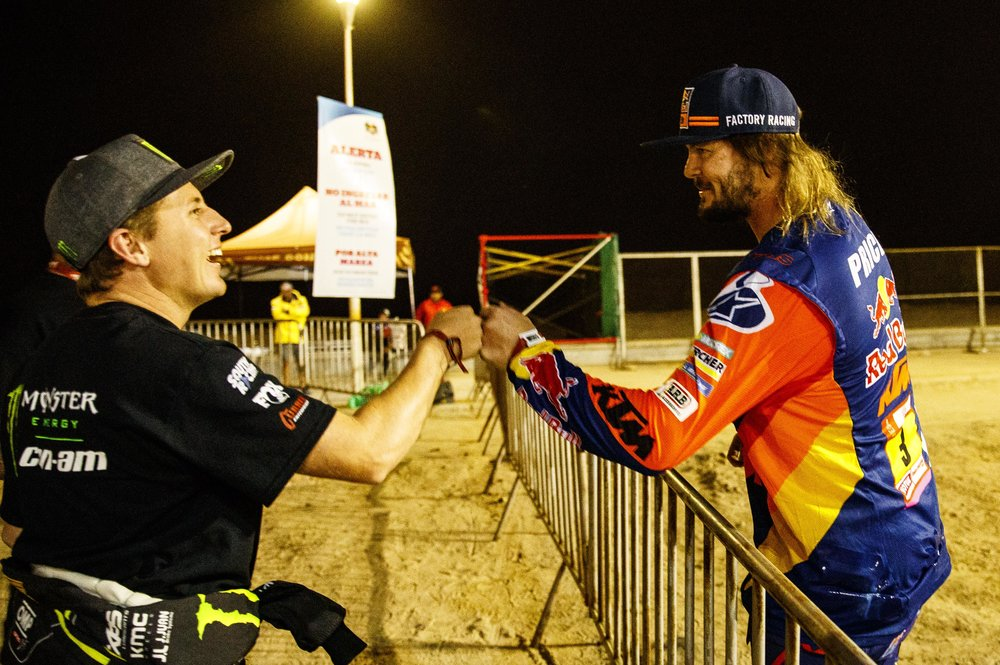 Giving props to the newly crowned Dakar bike champion, Toby Price.