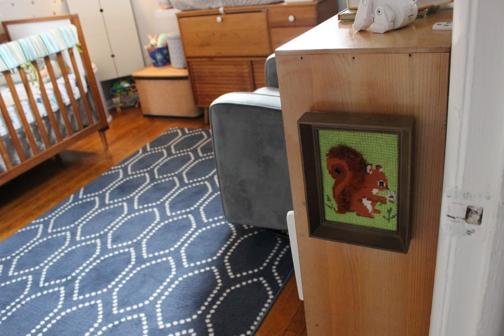 Squirrel needlepoint:  estate sale (This was really just here because I bought this bookcase with a nail sticking out of it here that I wanted covered. This specific art has since been moved downstairs to the Playroom & swapped out for some space art.)