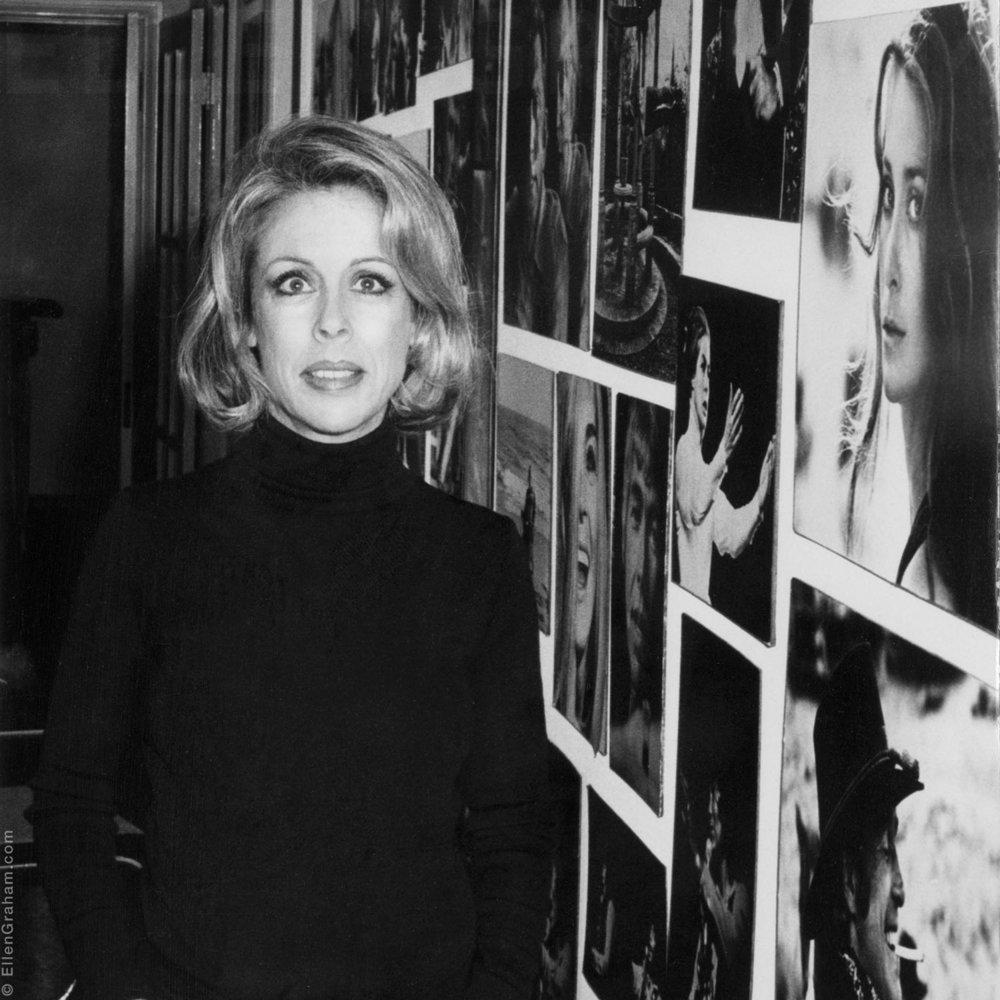 Ellen Graham with her prints, Beverly Hills, CA, 1975