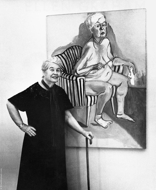 Alice Neel With Self Portrait, New York, NY, 1981