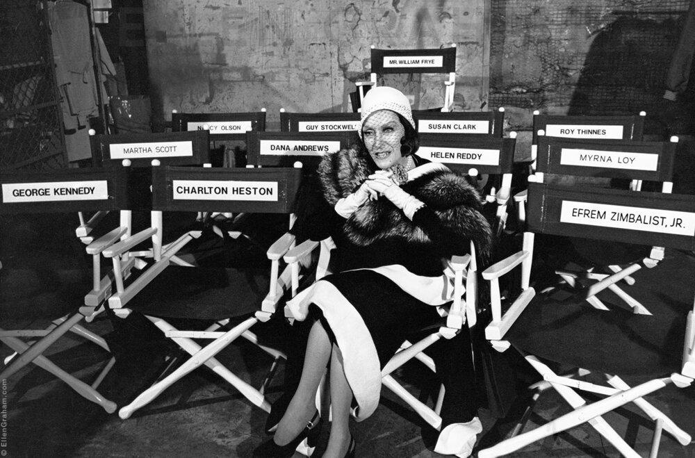 "Gloria Swanson, ""Airport 1975"" Film Set, Universal Studios, Hollywood, CA, 1974"