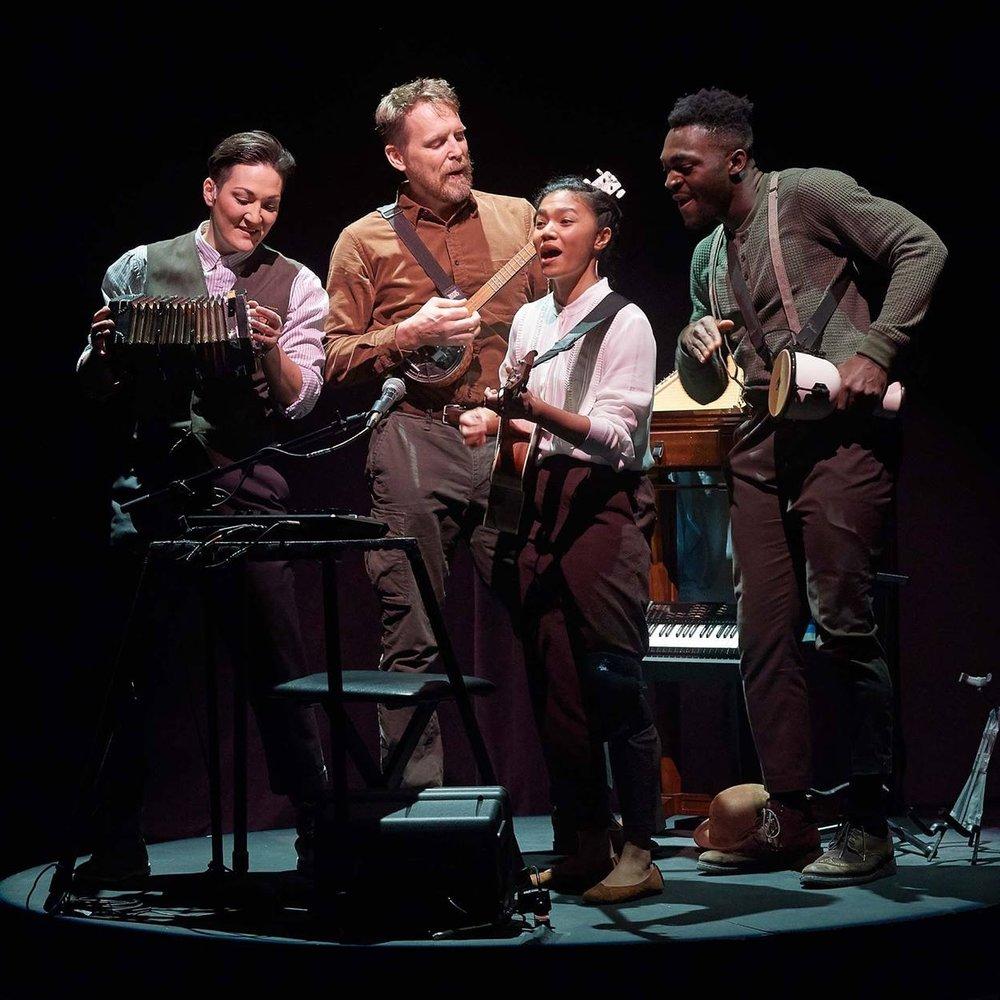 Theatre Gargantua's  The Wager , Nov 2018. L-R Teiya Kasahara, Michael Gordon Spence, Belinda Corpuz, Kwaku Okyere. Photo credit: Michael Cooper.