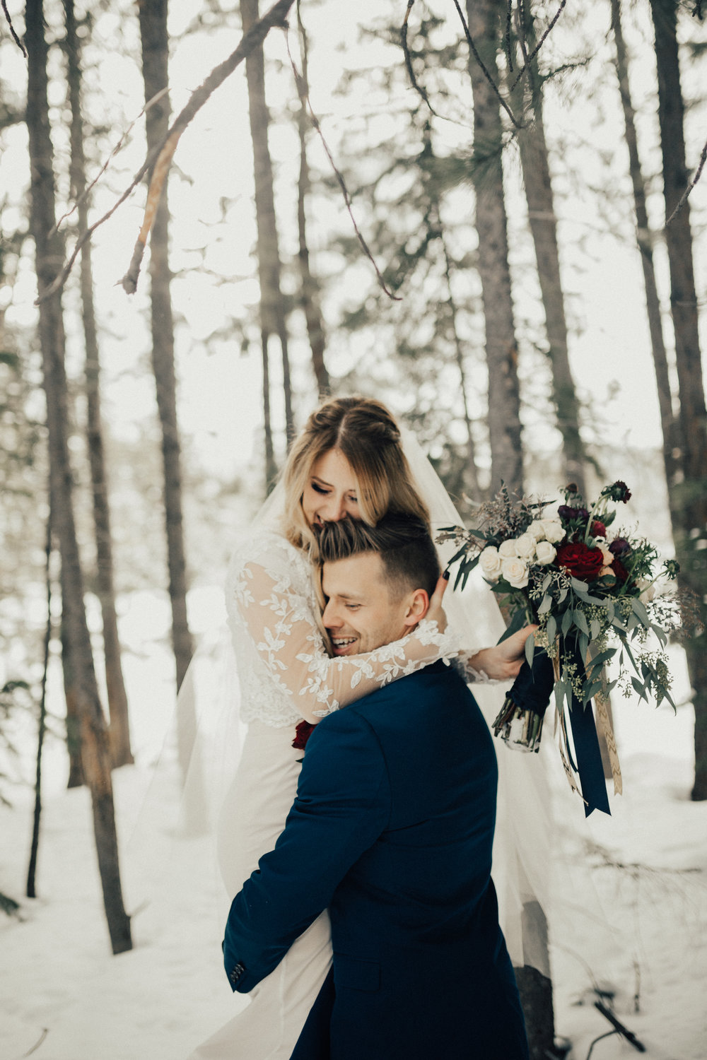 winter bridal first look