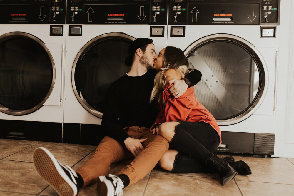 laundry mat engagement photos