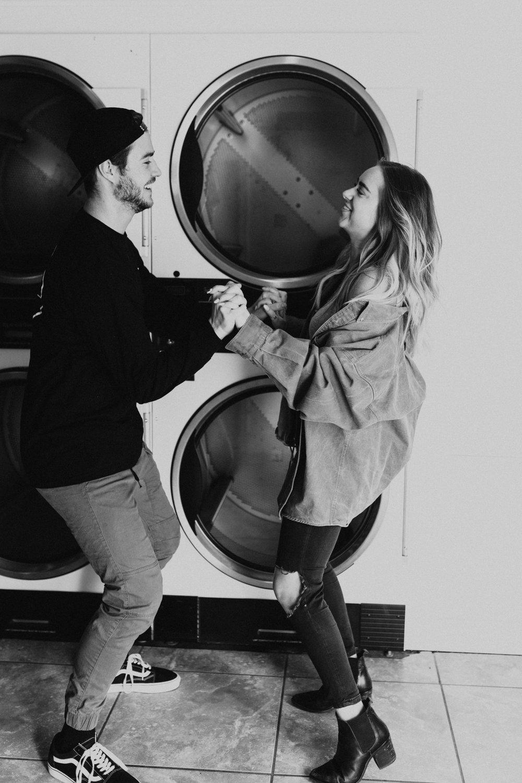 laundry mat engagement shoot