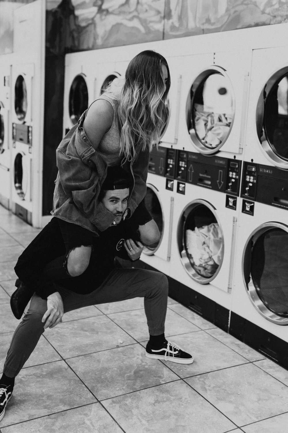 laundry mat engagement session