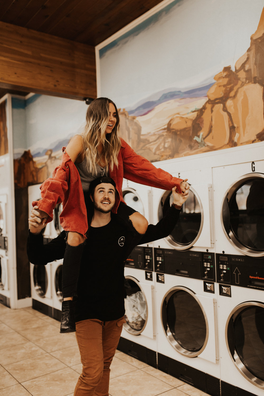 laundry mat engagement session