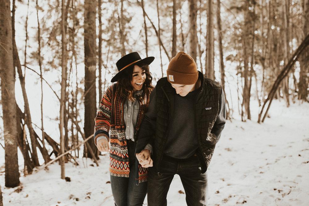 winter mountain engagement shoot