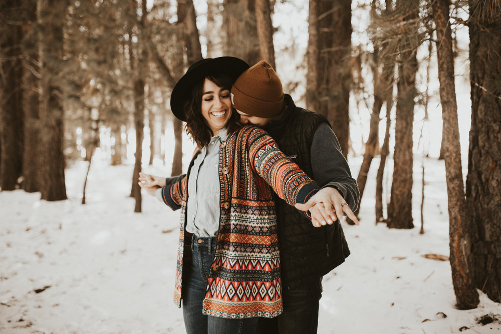 snowy mountain engagement session