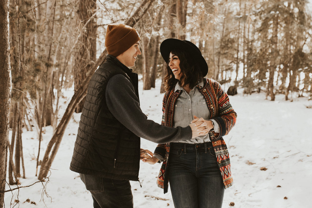 snowy engagement mountain session