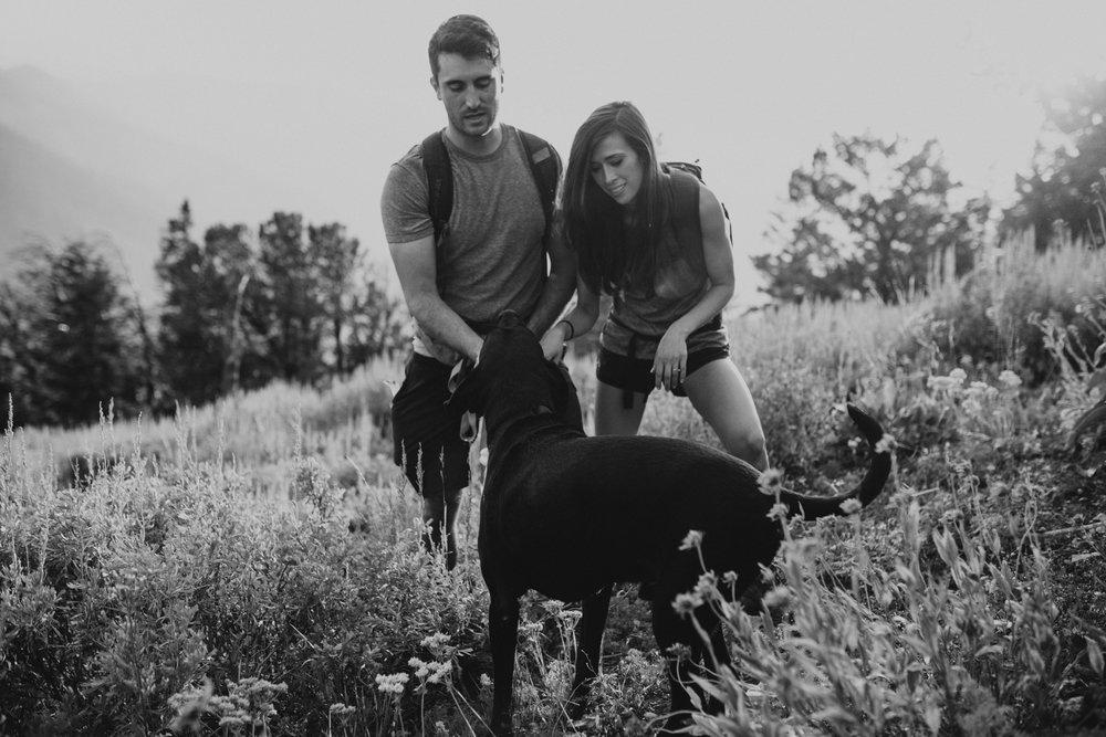 summer mountain engagement photos