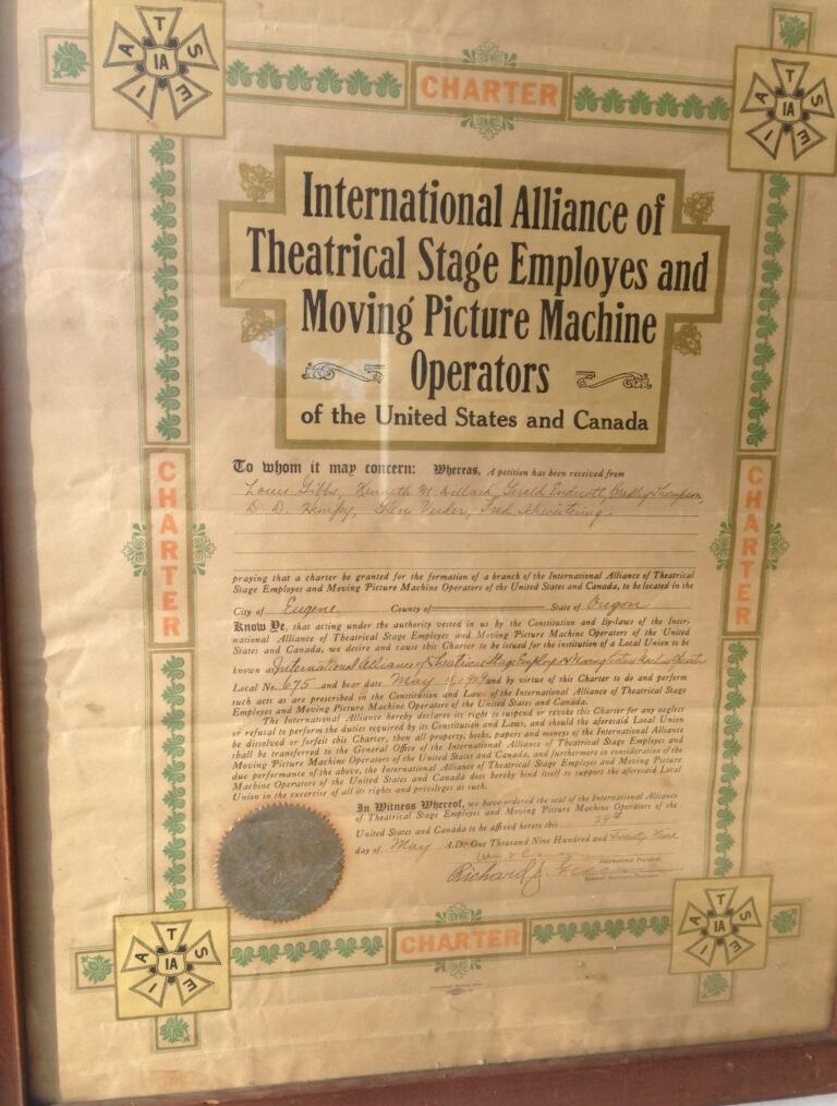 Original IATSE Local 675 Charter