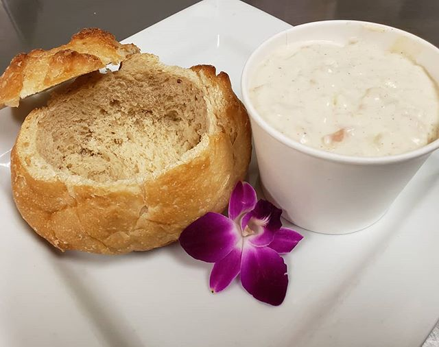Now offering Today!  Homemade Clam Chowder with a fresh bread bowl!  Ask for it at the counter!! #sogood #claremont #soup #freshmade #lunch #breadbowl
