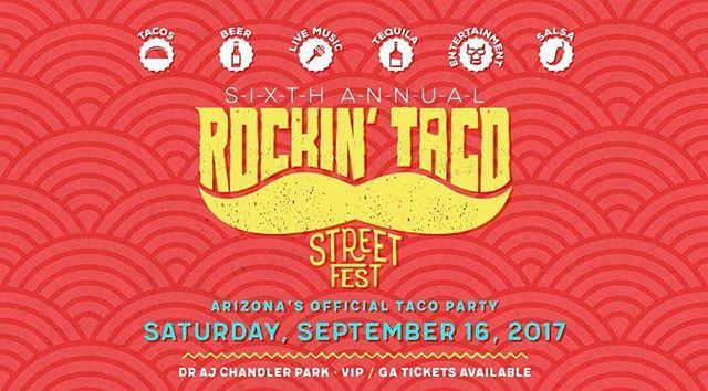 To all the taco lovers here is our list and a brief description of the tacos we will be serving at Rockin' taco street fest in downtown Chandler, We will be offering something for everyone and to top it all off all of our selections will be at only $2 that way you can try 2 or 3 of our tacos or if you feel adventurous all 12.  Pork Fillings 1 Tacos al Pastor: Pork butt marinated with chili powder, pineapple, orange,garlic and adobo. 2 Red Chili 3 Green Chili 4 Carnitas 5 Taco Aarabe (Arabic): Pork shoulder marinated with cumming, lime juice, thyme, oregano, chili peppers and onions.  Seafood Fillings 6 Beer battered fish tacos 7 Beer battered shrimp tacos.  Vegetarian Fillings 8 Grilled Vegetables: Zucchini,bell peppers, onions, and mushrooms grilled together.  Chicken Fillings 9 Grilled Chicken 10 Mole : Chicken breast mixed with various types of chile peppers, cinnamon, peanuts, and cocoa.  Beef Fillings 11 Carne Asada 12 Korean Taco: Bulgogi marinated meat with chili paste served with chopped cabbage and carrots and topped with our sriracha mayo sauce.  Extra Dessert Taco: Crepe style tortilla filled with strawberries and chocolate.  We will also be serving our signature Jefe Nachos this is a pizza box full of nacho chips topped with carne asada or grilled chicken, nacho cheese, pico de gallo, guacamole, salsa and jalapenos. This is the result of merging tacos and nachos a delicious treat you wont regret.  We hope to see all of you guys out there, bring the whole family there will be live entertainment, salsa competitions, lucha libre and even a lowrider car show.