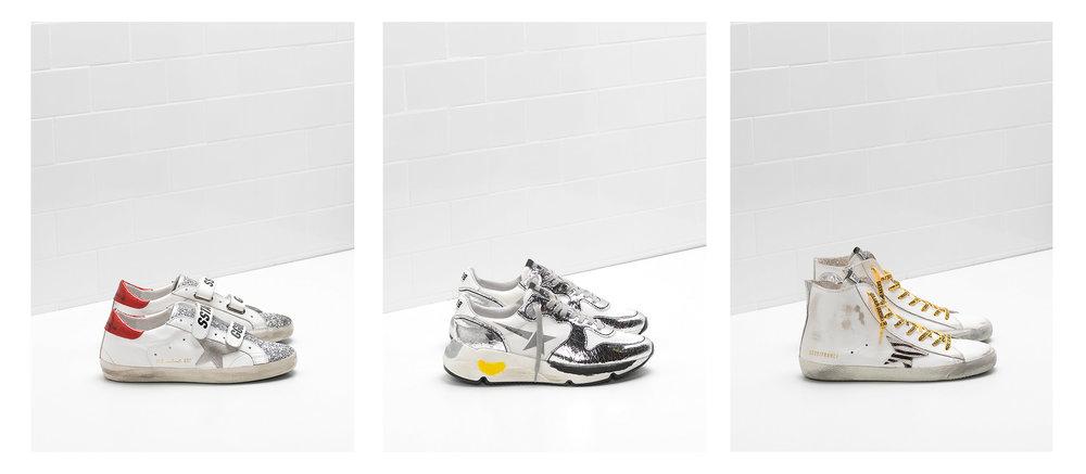 左/GGDB 銀白時尚球鞋 中/ GGDB  Superstar水鑽星星復古鞋 右/ GGDB  Superstar水鑽星星復古鞋
