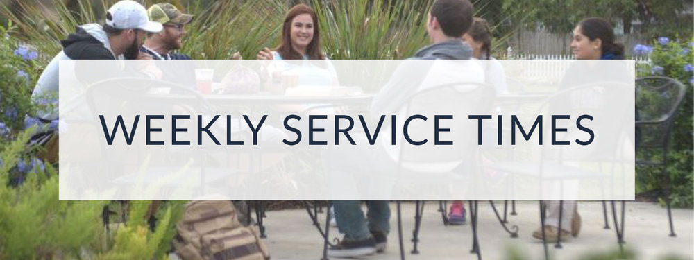 Weekly service times for church