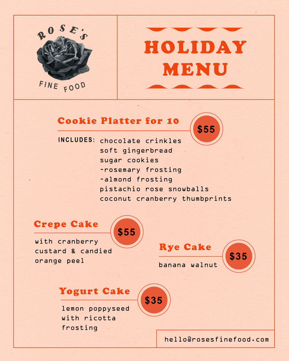 TAKING ORDERS! - You may have the skill, but we've got the time! Call or email to place an order of freshly homemade holiday treats.