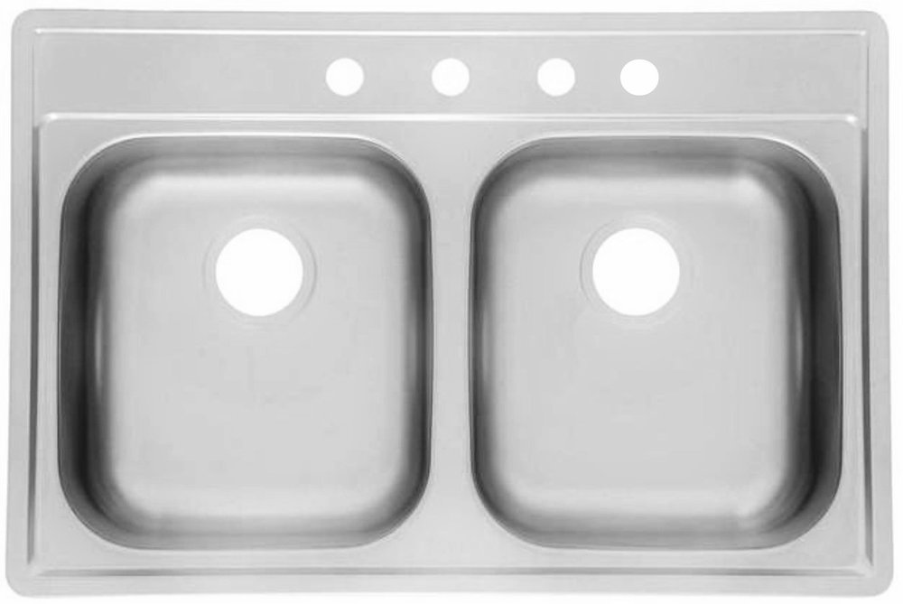 Double bowl topmout builder stainless steel -