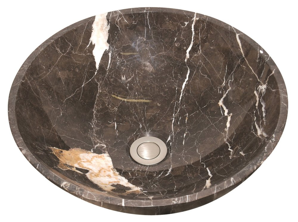 Imperial Brown Vessel Natural Stone Bathroom Sink -