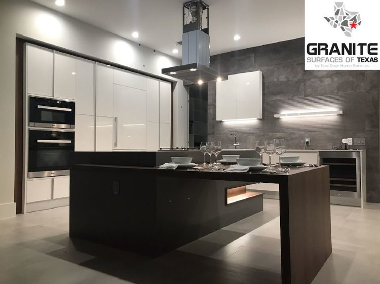 Projects Gallery — Granite Surfaces of Texas on a river valley granite in kitchen, silver pearl granite kitchen, sensa countertop star beach granite kitchen, kashmir white granite countertops in kitchen, st cecilia granite kitchen, santa cecilia granite kitchen,