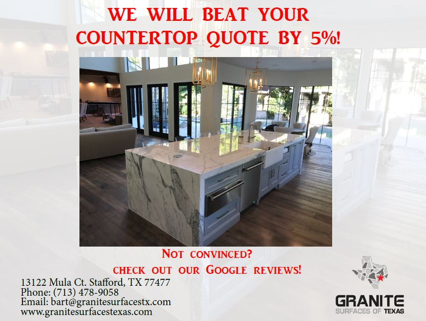 25SF minimum requirement.  The quote we're beating must be a formal quote from a reputable/well known countertop company.  If we don't sell the stone from the original quote, we won't be able to beat the price.  Once we measure the countertops, the final measurement must be within 5% of original quote measurement.  Call to make an appointment.