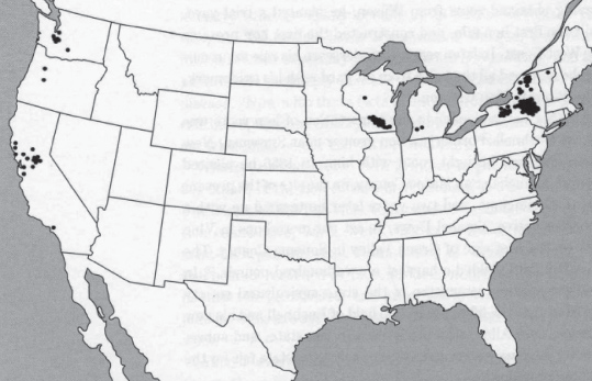 Historical map of hop production across the United States in 1879. Each dot represents 100,000 bales; 1 bale - 200 pounds of dried hops.