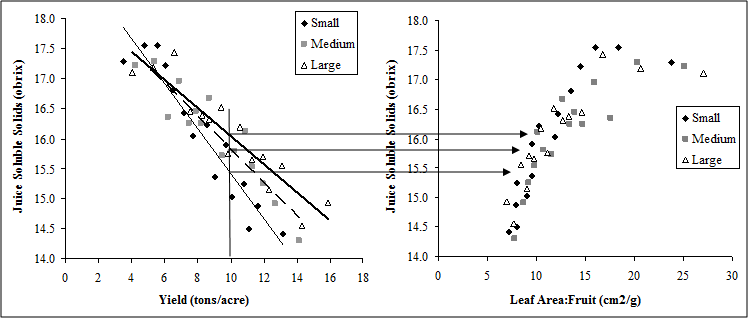 Figure 4 A and B. The effect of crop level (yield-A) and crop load (exposed leaf area to fruit ratio-B) on juice soluble solids of small, medium, and large Concord vines pruned to 120 nodes.