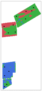 Figure 2: A map of CLEREL vineyards depicting the NDVI generated vigor classifications (colors) and sample locations (black dots).