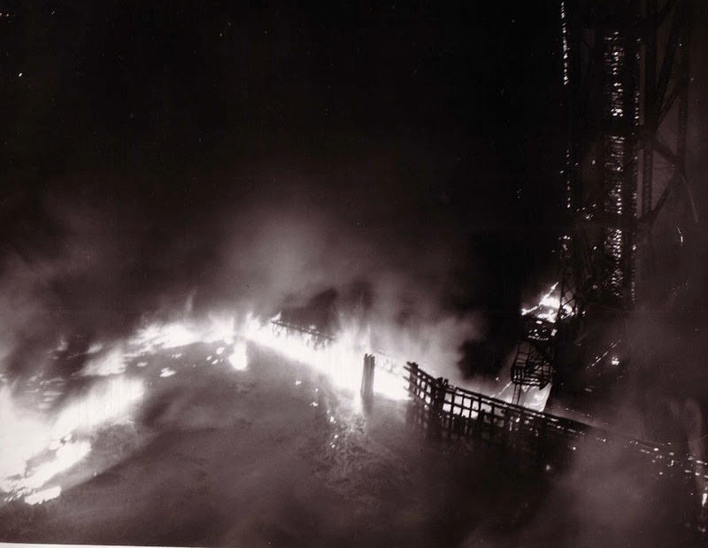 Cuyahoga River fire, 1948. Courtesy CSU Library, Division of Special Collections.