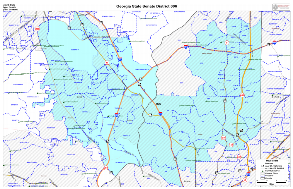 Georgia's Senate District 6 - Home to almost 200,000 Georgians, Senate District 6 is an amazingly vibrant and diverse district that includes Marietta, Smyrna, Vinings, Buckhead, Chastain Park, Historic Brookhaven, and Sandy Springs.Check to see if you're in the district: Georgia My Voter PageClick here to view an interactive precinct map.