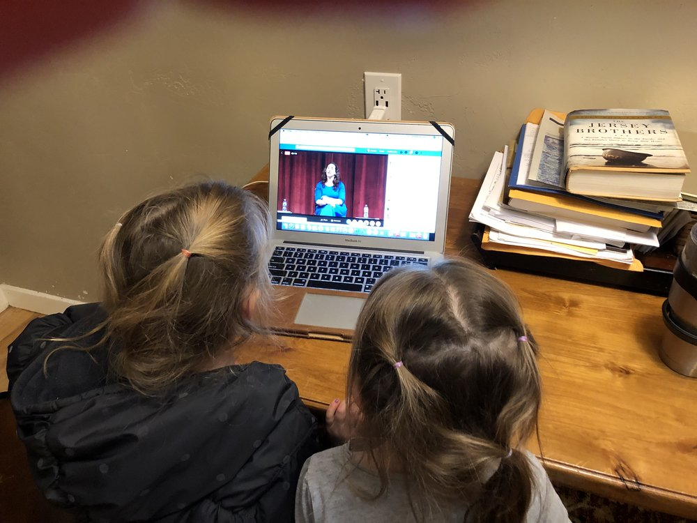 Starting them off young! Two Team Shireen girls watching the debate.  - Sherida P.