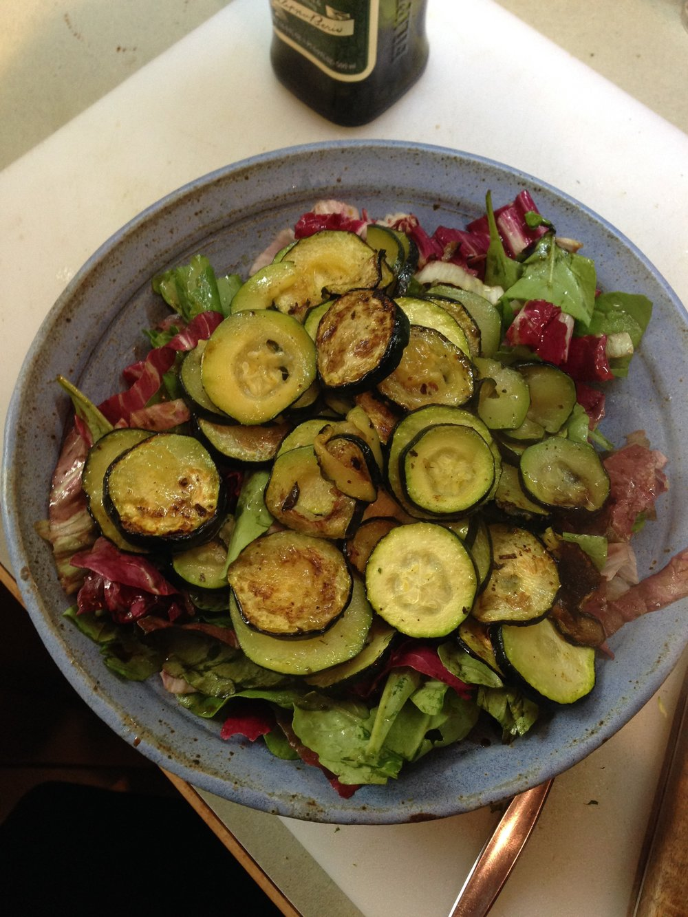 oven-roasted zucchini over a salad of arugula and sauted radicchio