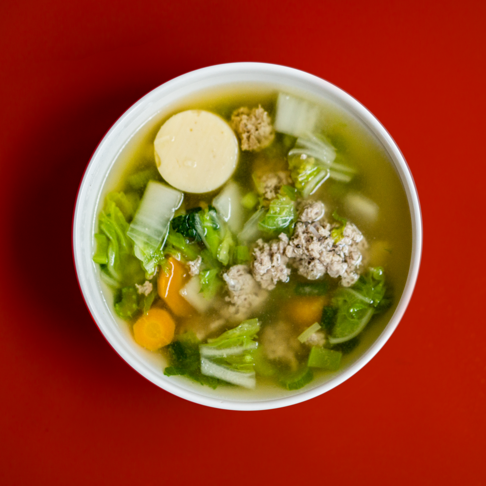 Brothy soup with pac choi  Above image: Garlicky Bok Choy from Bon Appetit